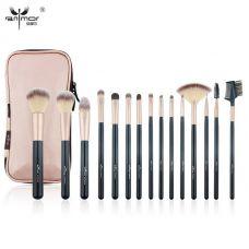 Набор кистей для макияжа профессиональный ANMOR Professional makeup brush set Pink Gold черный (15шт)