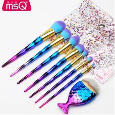 Набор кистей для макияжа профессиональный MSQ Professional makeup brush set Mermaid градиент (8шт)