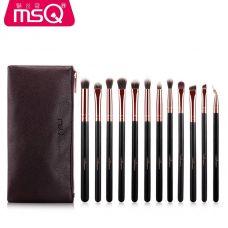 Набор кистей для макияжа глаз профессиональный MSQ Professional makeup brush set Gold черный (12шт)