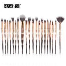 Набор кистей для макияжа MAANGE makeup brush set Metal Gradient бронзовый (20шт)