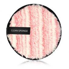 Хлопковый спонж для умывания MAANGE Clean Sponge бело-розовый