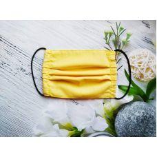Многоразовая тканевая защитная маска из натурального хлопка желтая