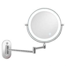 Зеркало косметическое настенное двухстороннее, диаметр 20см LED подсветка, 10х кратное увеличение, выдвижное