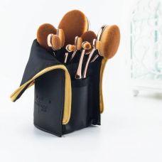 Набор кистей-щеточек для макияжа профессиональный ANMOR Professional makeup brush set Oval черный (10шт)