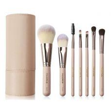 Набор кистей для макияжа в тубусе MAANGE makeup brush set пудровый (7шт)