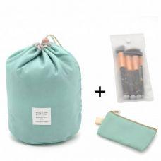 Косметичка Makeup box, Сумка-органайзер для косметики зеленая + косметичка и чехол для кистей