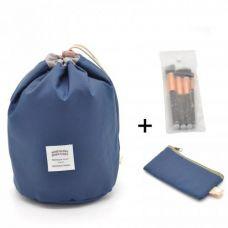 Косметичка Makeup box, Сумка-органайзер для косметики синяя + косметичка и чехол для кистей