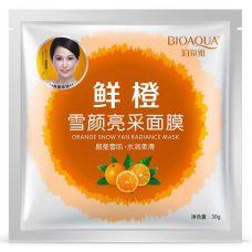 Маска-салфетка для лица выравнивающая тон с апельсином BIOAQUA Orange Snow Yan Radiance Mask (30г)